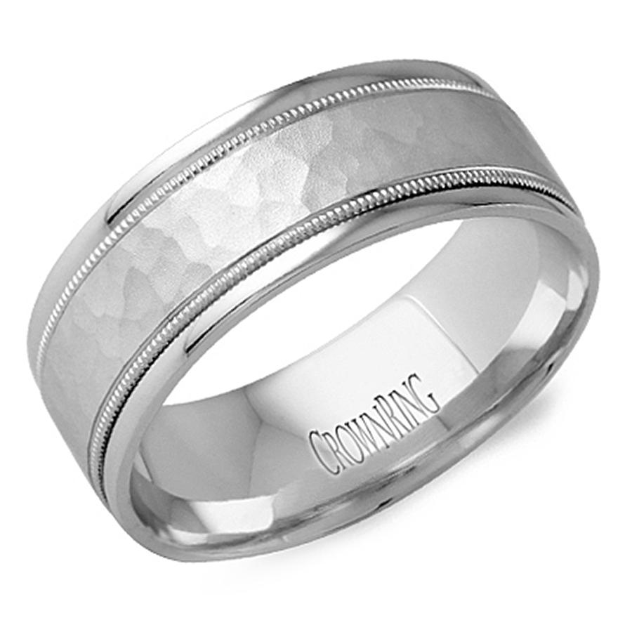 Crown Ring Lb 2038 M10 Hammered Milgrain Wedding Band Within Millgrain Wedding Bands (View 7 of 15)
