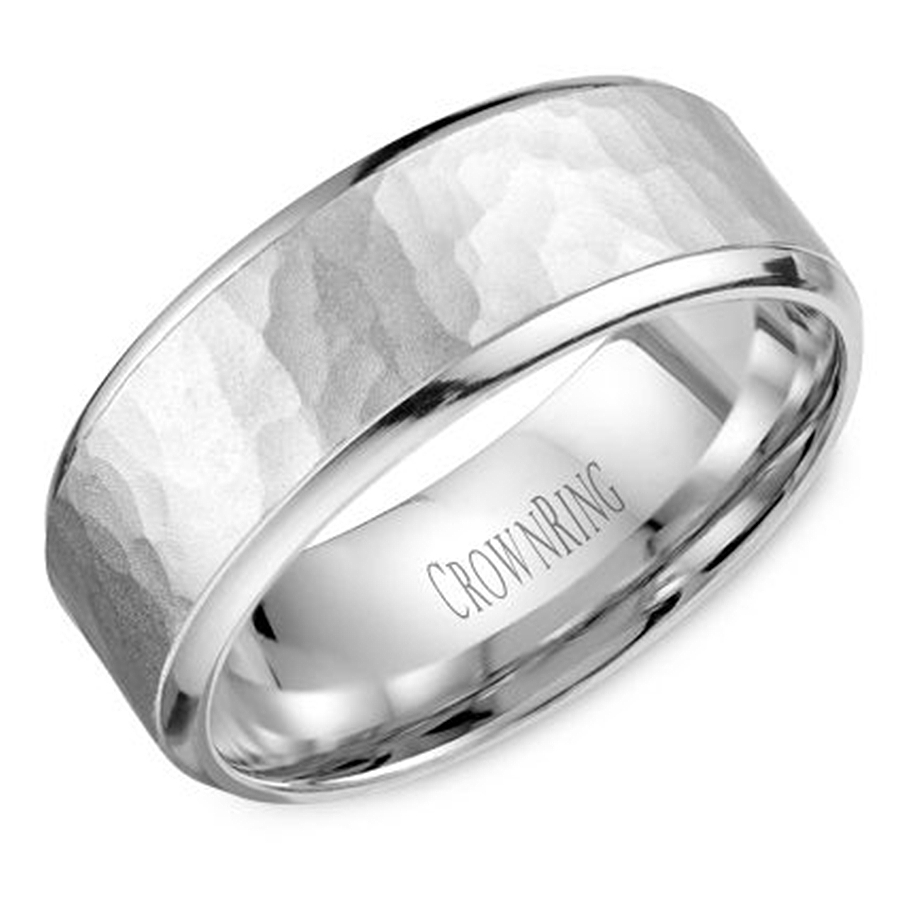 Crown Ring Wb 9968 M10 Hammered Wedding Band Within Carved Wedding Bands (View 8 of 15)