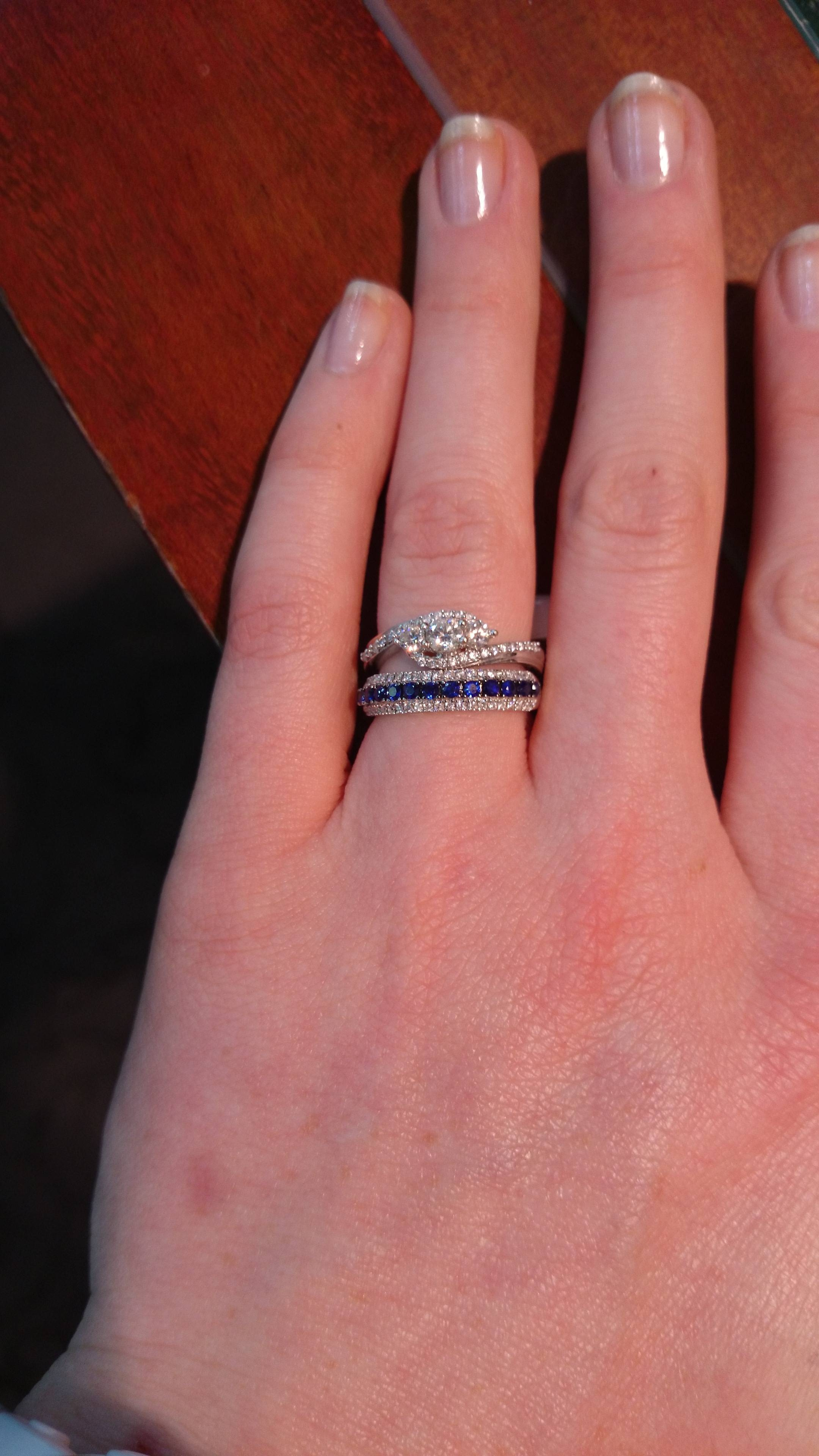 15 Photo of Curved Sapphire Wedding Bands