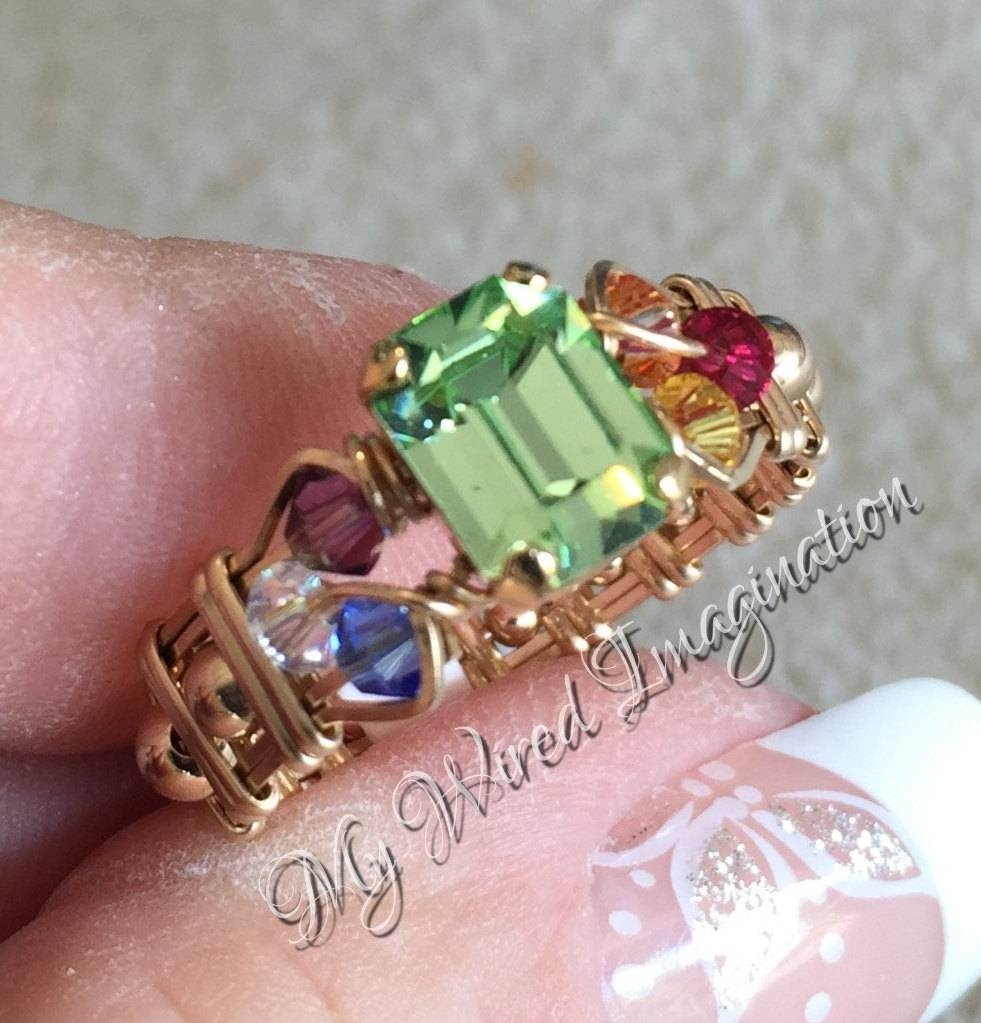 Crystal Chakra Ring Vintage Swarovski Chrysolite 7 Chakra With Swarovski Crystal Wedding Rings (View 6 of 15)