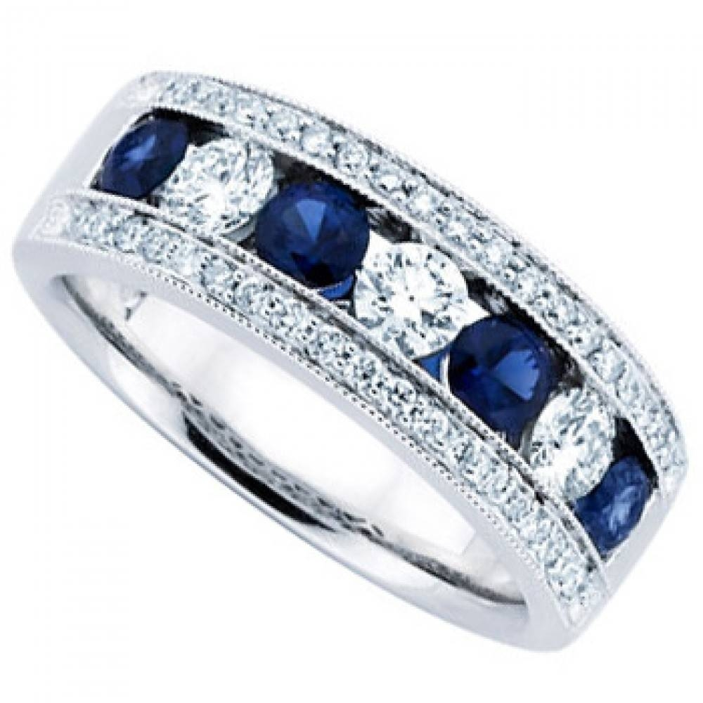 Ct Ladies Blue Sapphire Wedding Band Ring Regarding 2017 Sapphire Wedding Bands For Women (View 4 of 15)