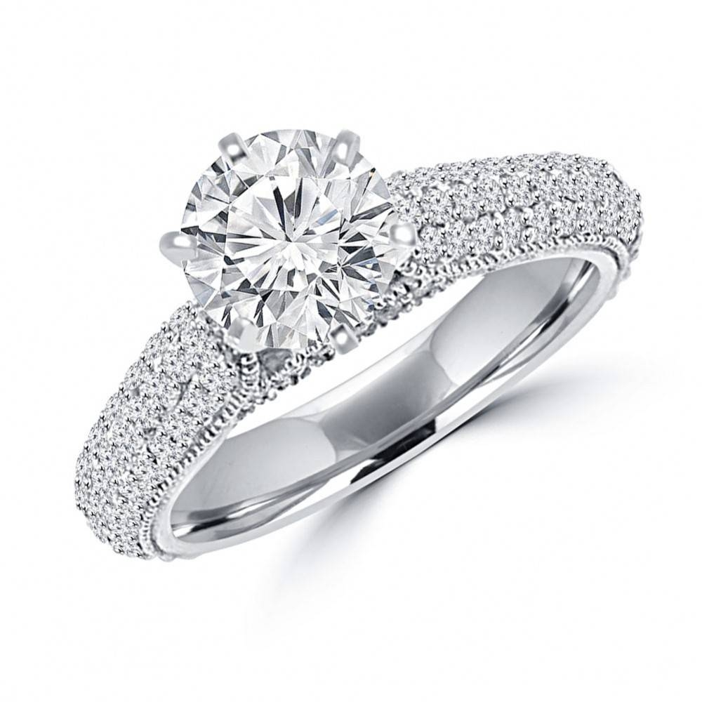 Ct Ladies Round Cut Diamond Engagement Ring Set In 14 Kt White In Pave Engagement Ring Settings (View 6 of 15)