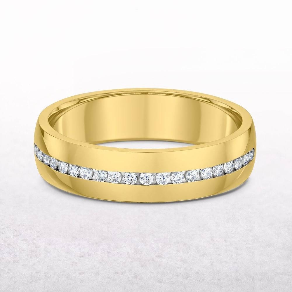 Ct Yellow Gold Diamond Channel Set Wedding Band Inside Current Yellow Gold Channel Set Wedding Bands (View 10 of 15)