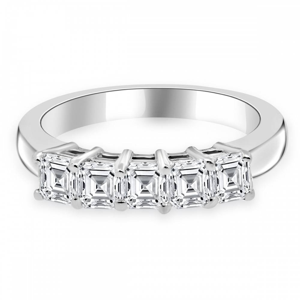 Cttw Asscher Cut Diamond Five Stone Wedding Band 14K White Gold Pertaining To Current Asscher Cut Wedding Bands (Gallery 10 of 15)