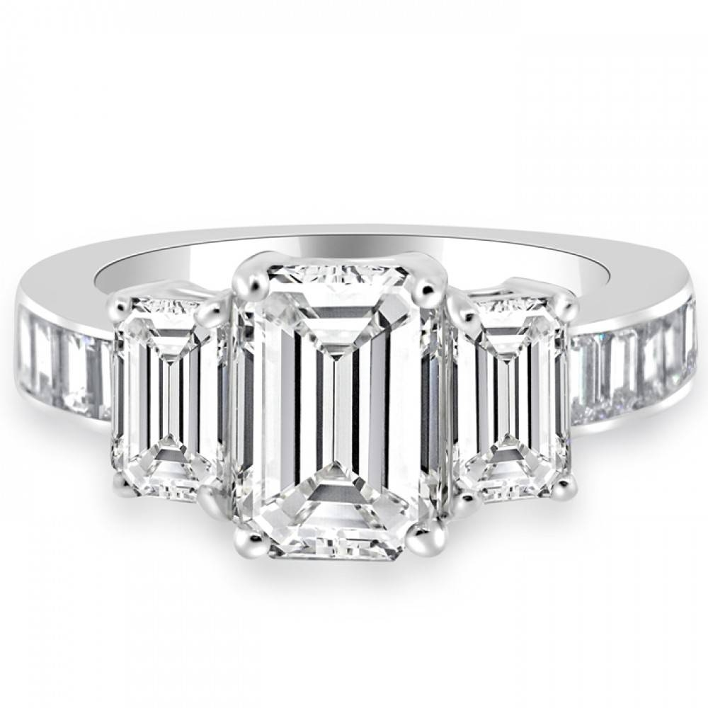 Cttw Emerald Cut Three Stone Diamond Engagement Ring 14K White Gold Regarding Emerald Cut Three Stone Diamond Engagement Rings (Gallery 9 of 15)