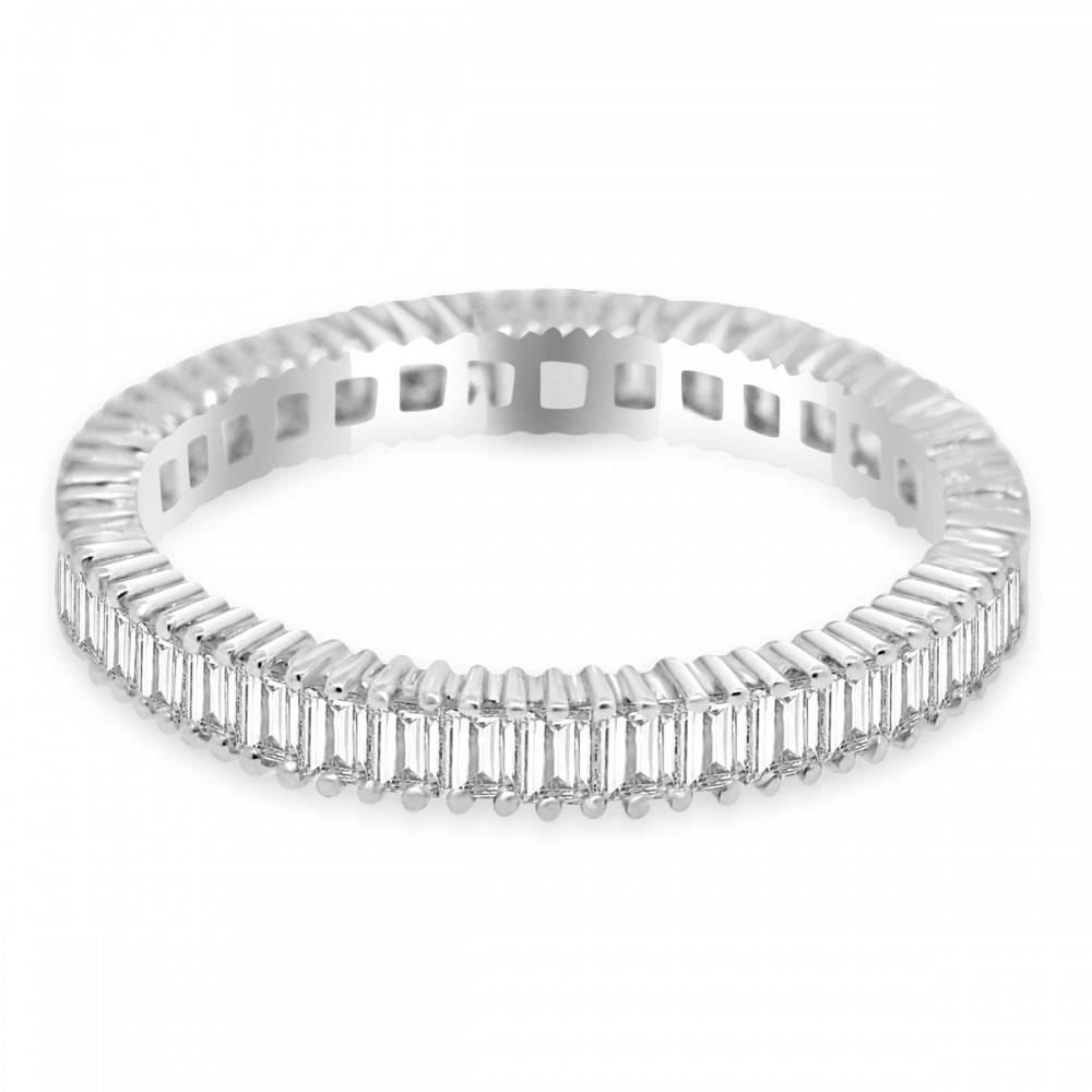 Cttw Straight Baguette Cut Diamond Eternity Wedding Band 18k White In Baguette Wedding Bands (View 15 of 15)