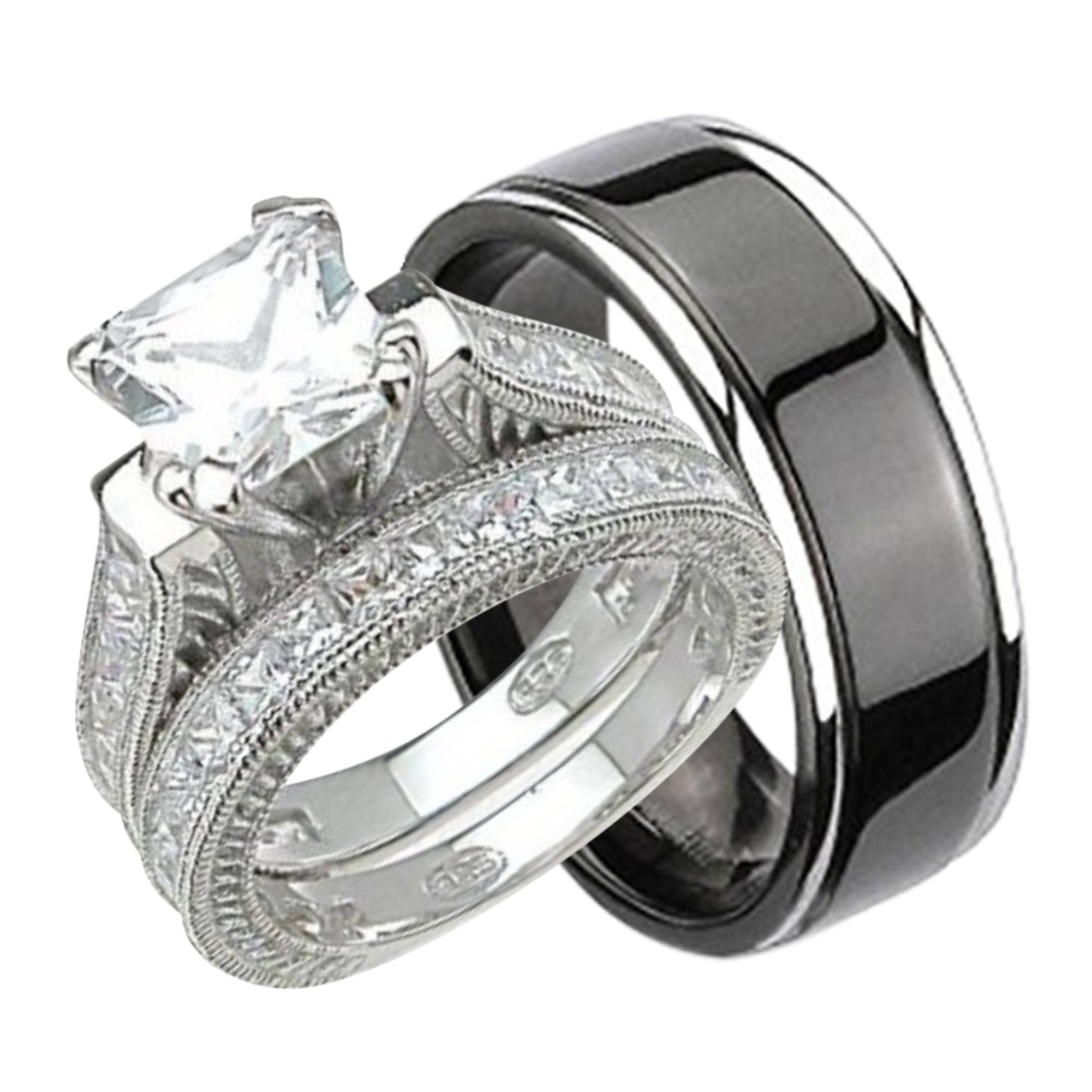 Cubic Zirconia Wedding Rings For His And Her Wedding Bands Sets (View 8 of 15)