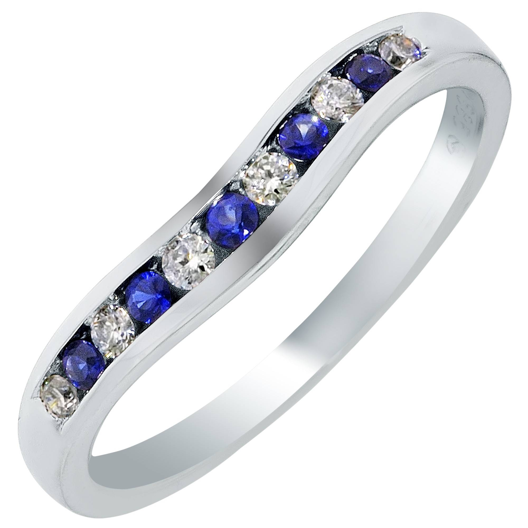 Curved Diamond And Sapphire Wedding Band In 14Kt White Gold (1/4Ct Tw) Throughout Sapphire Wedding Bands (Gallery 11 of 15)