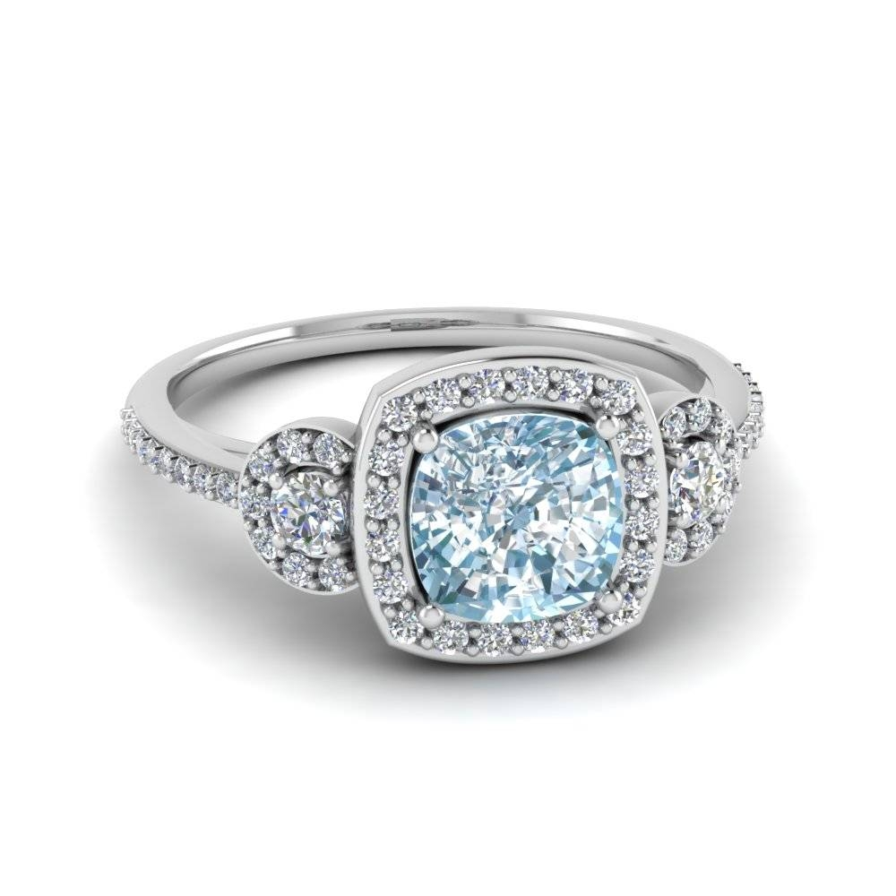 Cushion Cut Aquamarine Pave 3 Stone Halo Colored Engagement Ring With Regard To Diamond Aquamarine Engagement Rings (View 9 of 15)