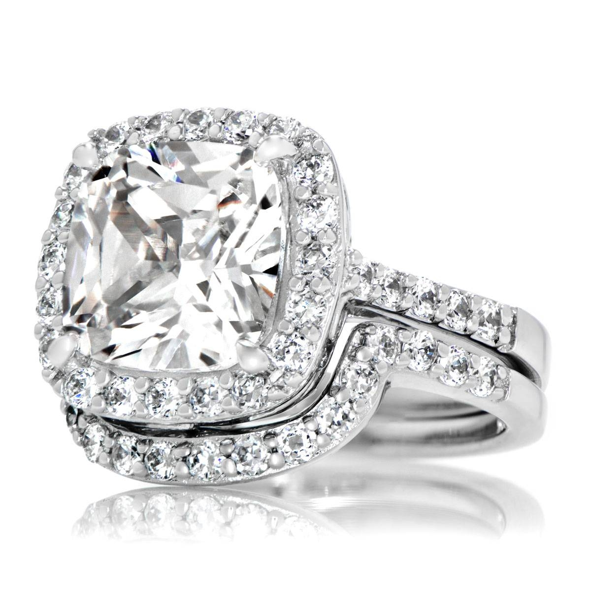 Cushion Cut Cz Halo Wedding Ring Set – 10Mm For Halo Diamond Wedding Band Sets (View 4 of 15)