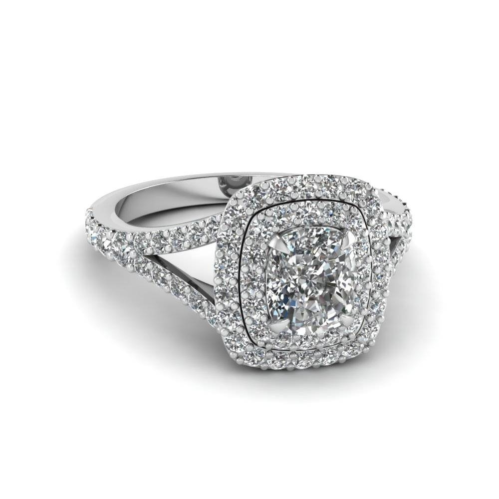 Cushion Cut Diamond Double Halo Engagement Ring In 950 Platinum With Regard To Round Cushion Cut Diamond Engagement Rings (View 4 of 15)