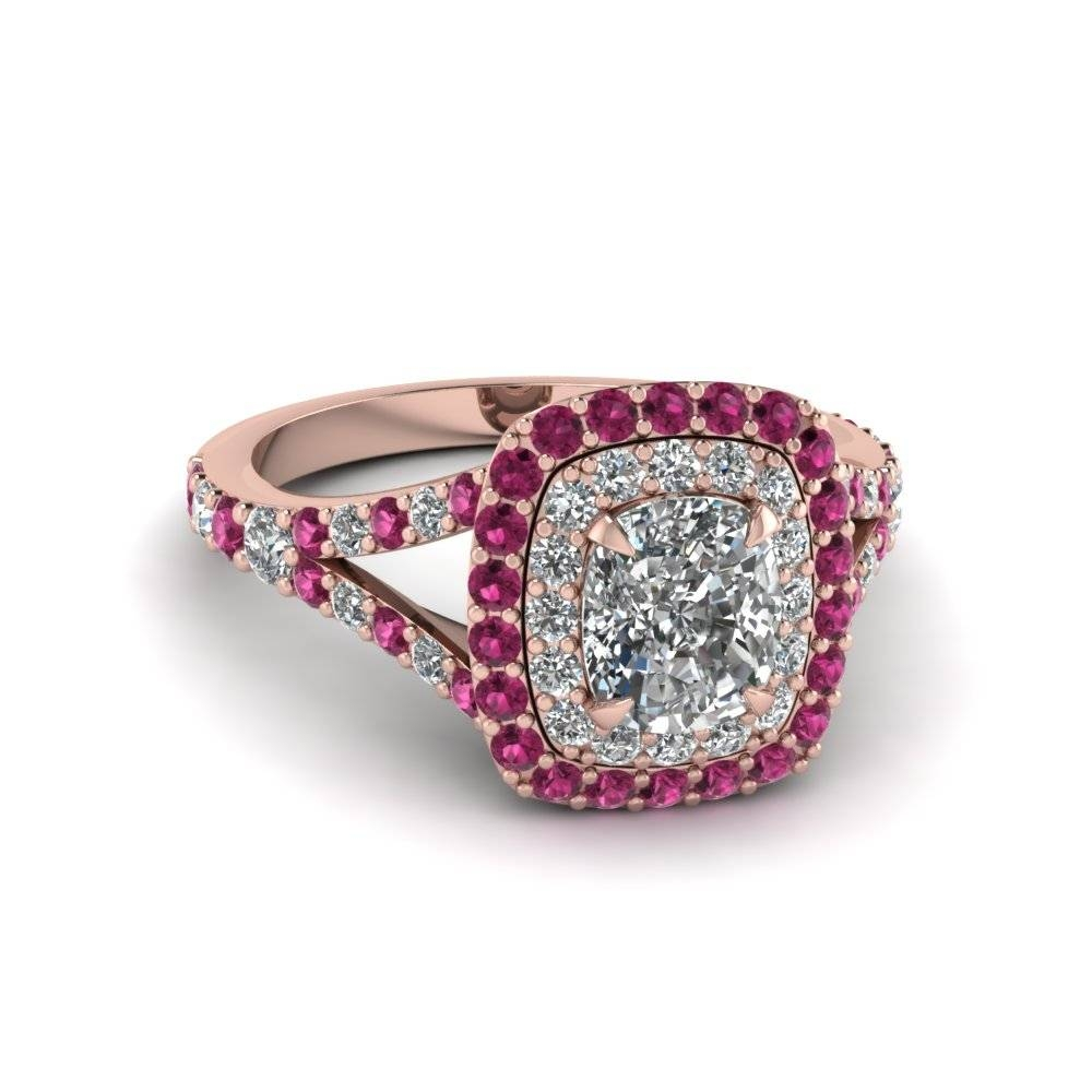 Cushion Cut Diamond Double Halo Engagement Ring With Pink Sapphire With Pink Sapphire Engagement Rings With Diamonds (View 2 of 15)