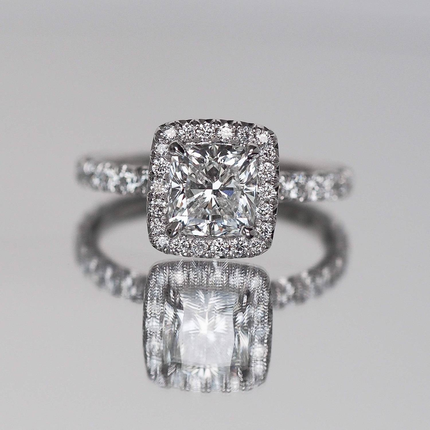 Cushion Cut Engagement Ring With Diamonds On Halo Facing Up Intended For Vvs Engagement Rings (Gallery 3 of 15)