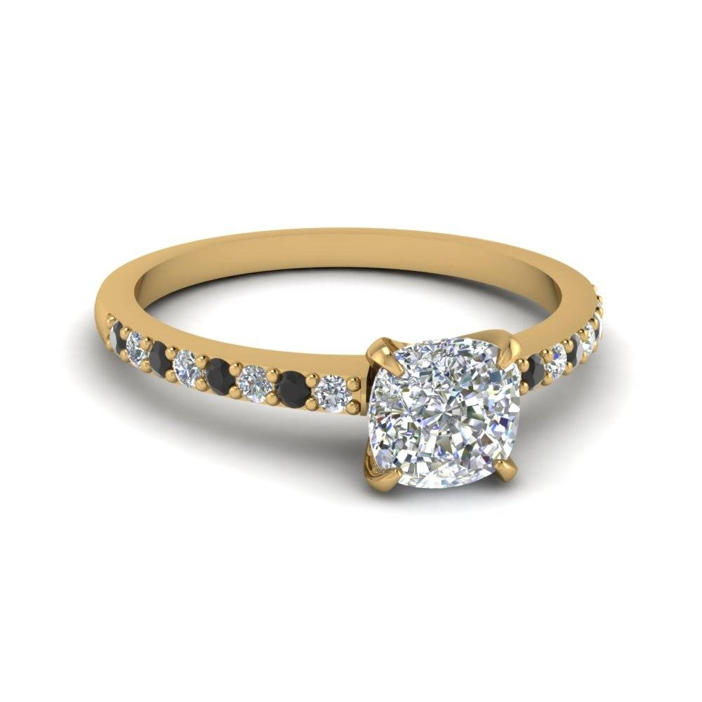 Cushion Cut Petite Ring With Black Diamond In 14K Yellow Gold Inside Buy Diamond Engagement Rings Online (View 7 of 15)