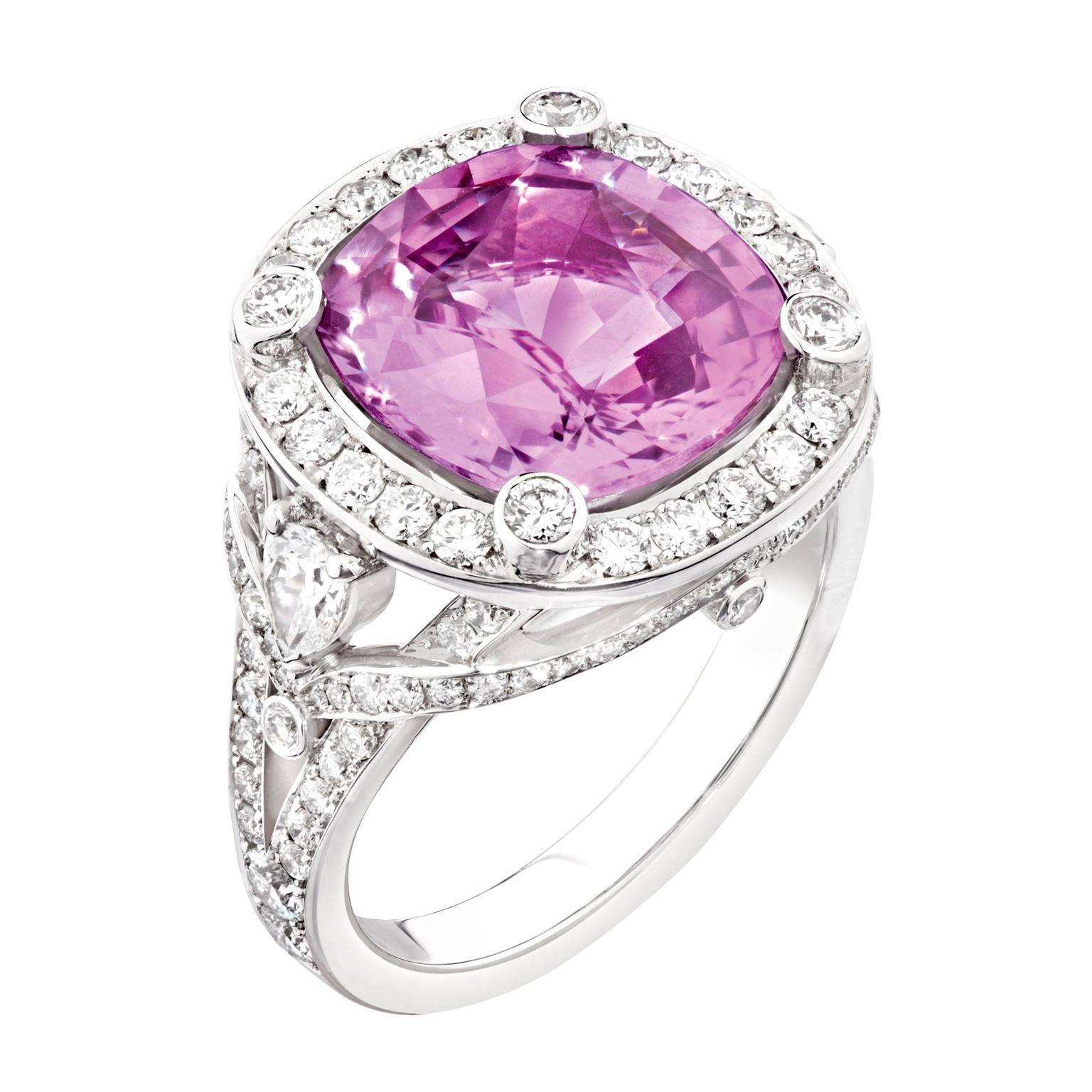 Cushion Cut Pink Sapphire Engagement Ring | Fabergé | The Intended For Pink Sapphire Engagement Rings With Diamonds (View 3 of 15)