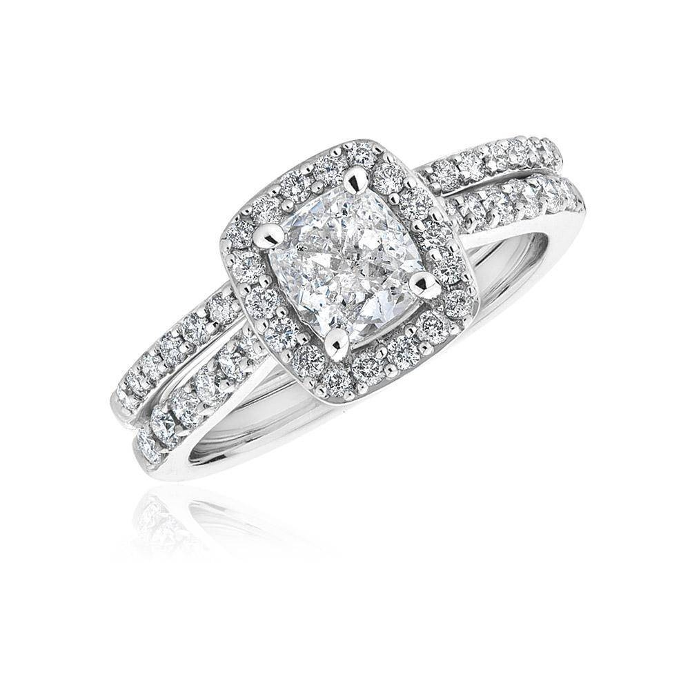 Cushion Diamond Halo Bridal Set 1 1/3Ctw – Item 19331024 | Reeds Regarding Halo Diamond Wedding Band Sets (View 5 of 15)