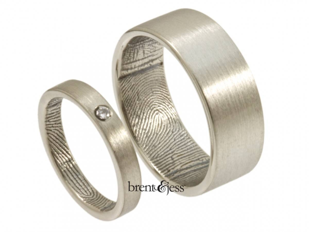 Custom Handmade Fingerprint Jewelrybrent&jess Throughout Fingerprint Wedding Bands (Gallery 4 of 15)