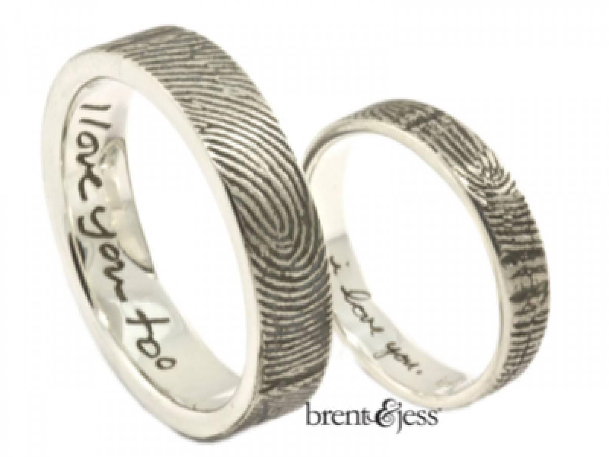 Custom Handmade Fingerprint Jewelrybrent&jess With Regard To Fingerprint Wedding Bands (View 3 of 15)