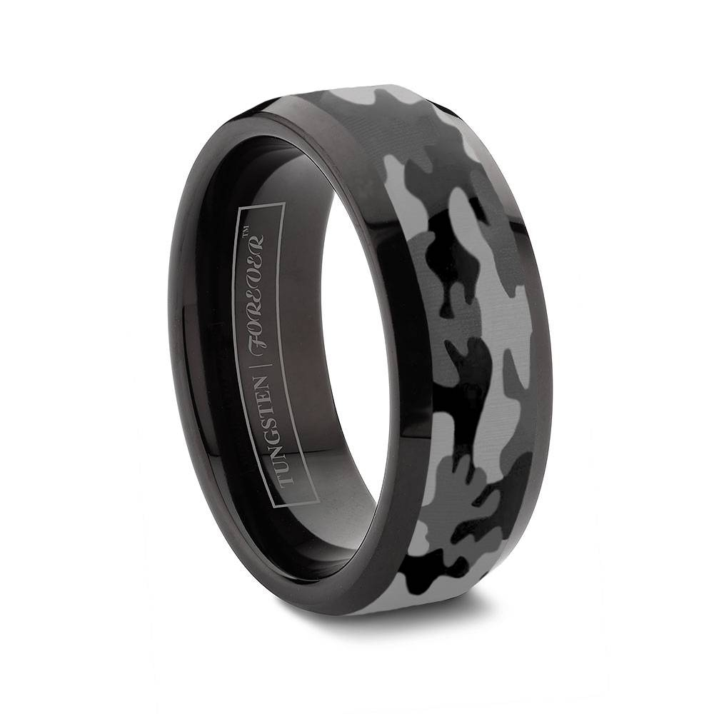 Custom Tungsten Rings Inside Dark Metal Wedding Bands (Gallery 10 of 15)