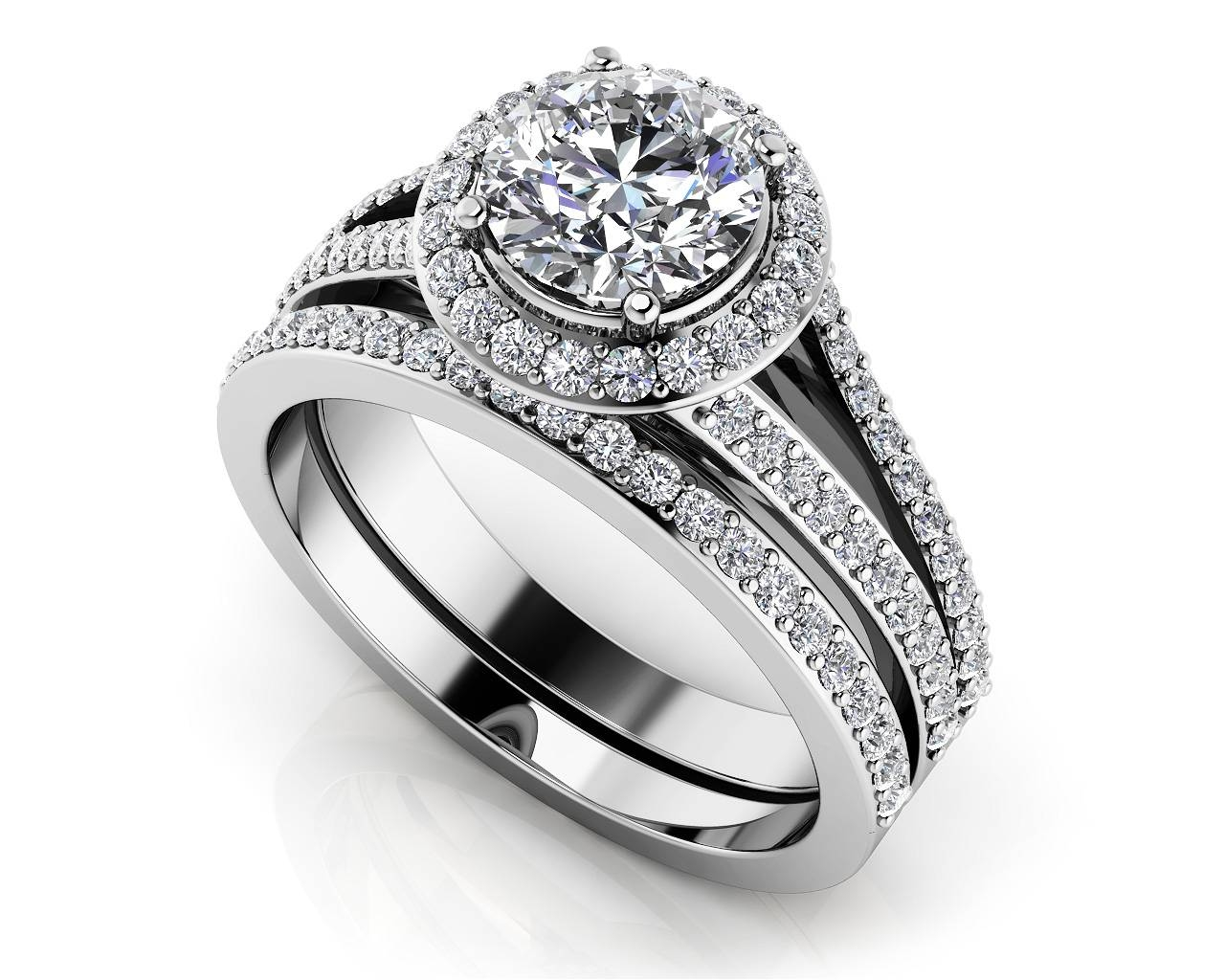 Customize Your Wedding Set & Matching Diamond Bridal Set Inside Halo Diamond Wedding Band Sets (View 6 of 15)