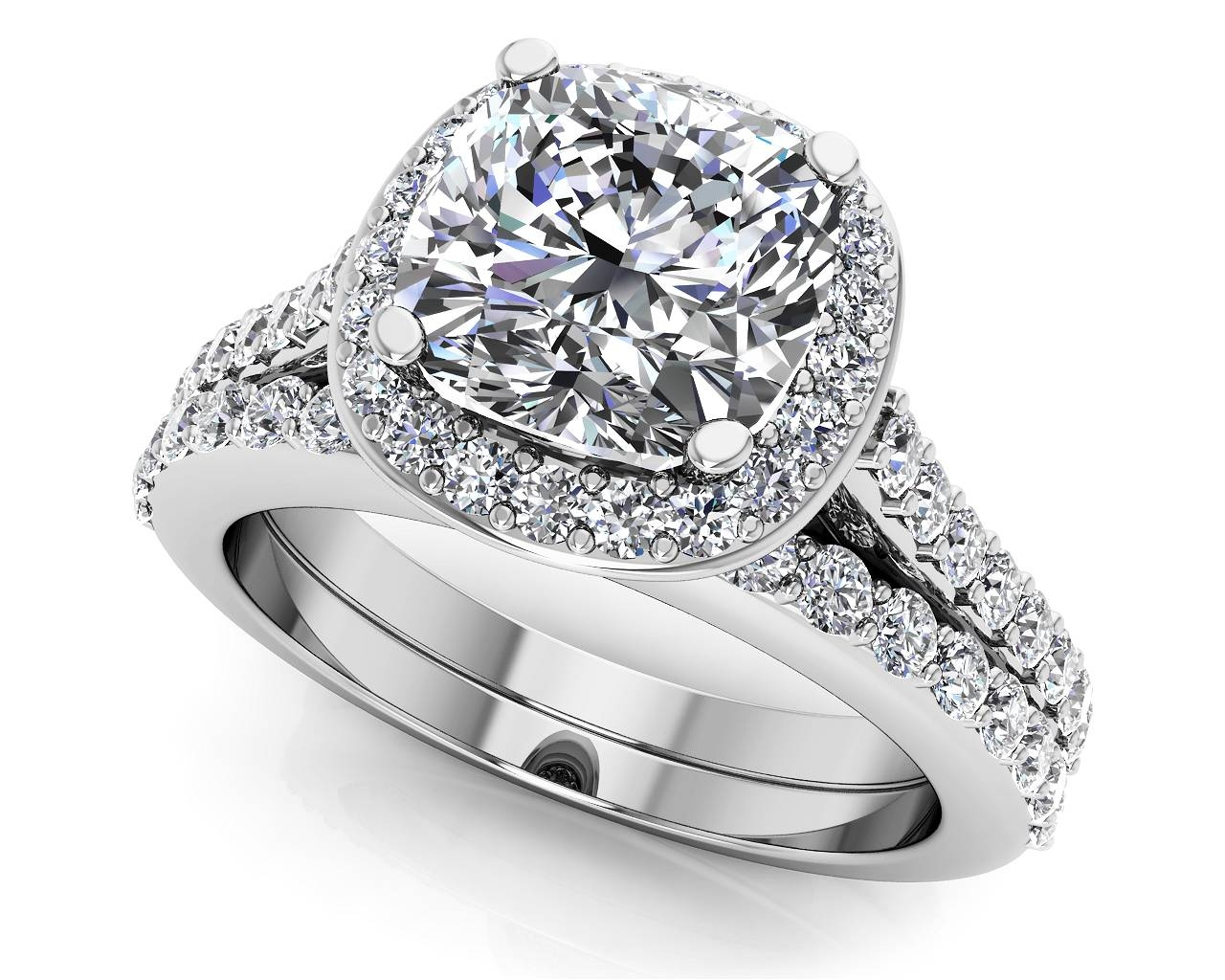 Customize Your Wedding Set & Matching Diamond Bridal Set Pertaining To Halo Diamond Wedding Band Sets (View 7 of 15)