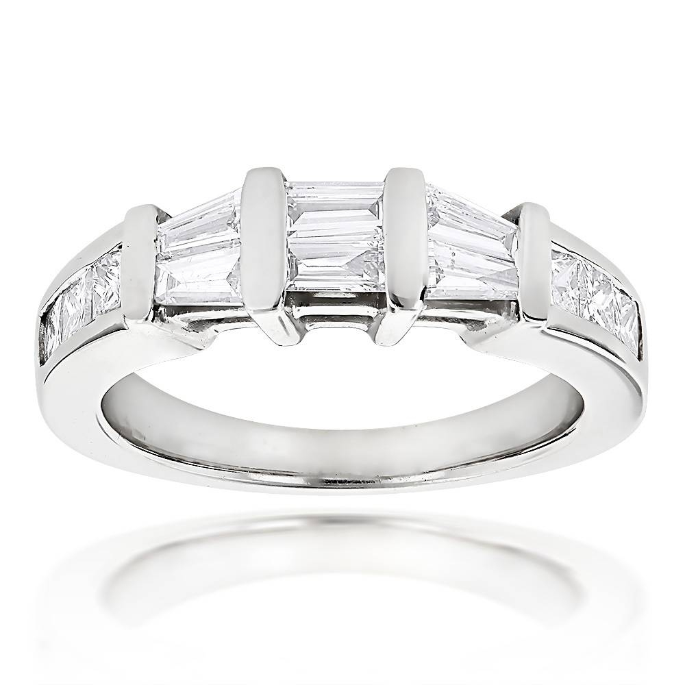 Cut And Baguette Diamond Wedding Band 0.9Ct 14K Gold Intended For Baguette Cut Diamond Wedding Bands (Gallery 3 of 15)