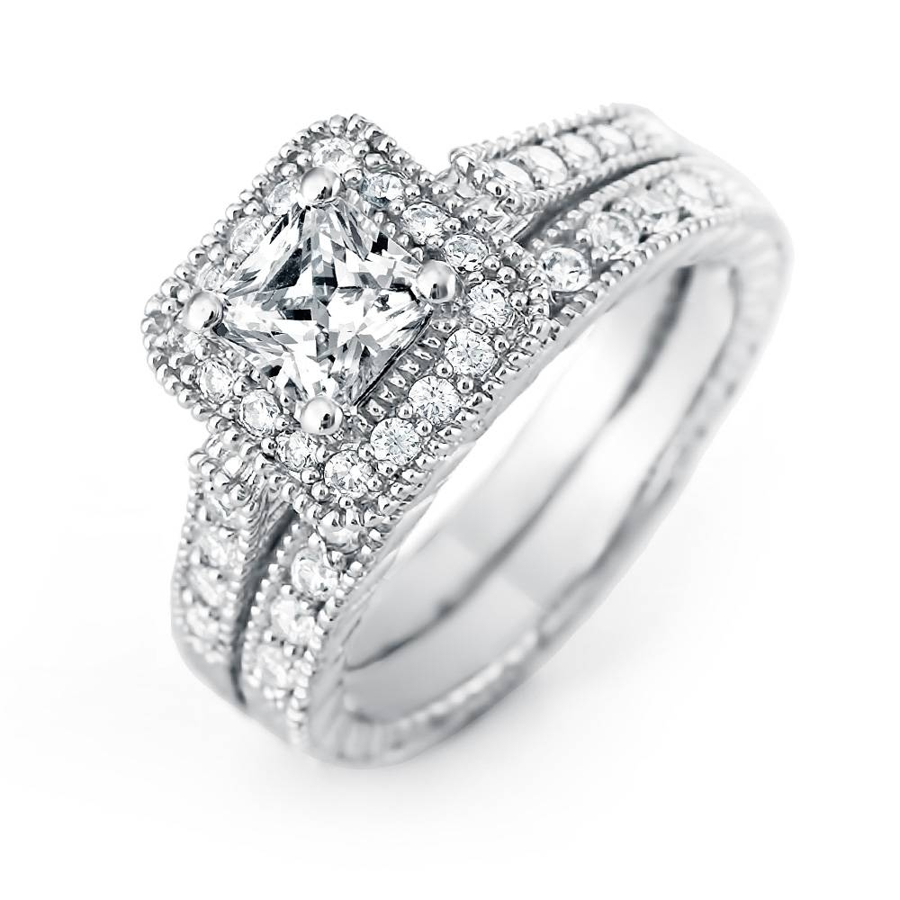 Cut Halo Cz Wedding Ring Set | Eve's Addiction® With Regard To Princess Cut Wedding Rings (View 4 of 15)