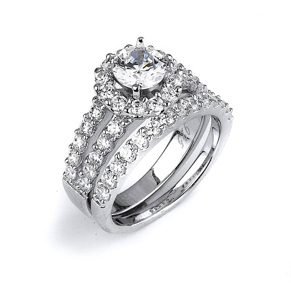 Cz Wedding Ring With A Double Shank Halo Engagement Ring Made In Throughout Halo Wedding Bands (View 3 of 15)