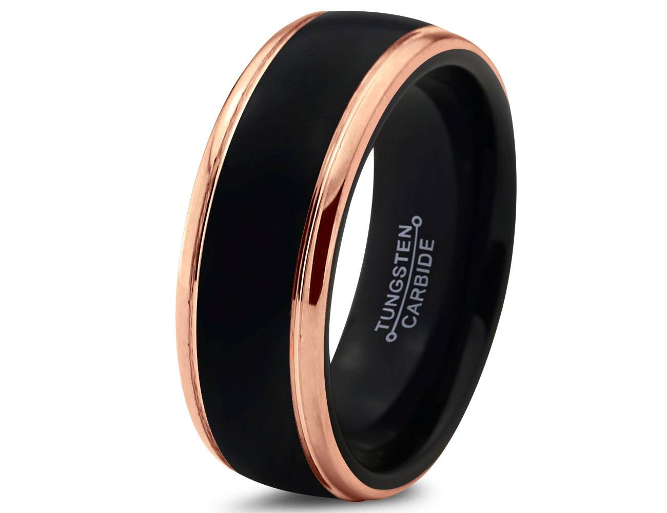 Dark Grey Mens Wedding Band Tags : Wedding Ring For Man Tungsten Within Black And Gold Wedding Bands For Men (View 6 of 15)