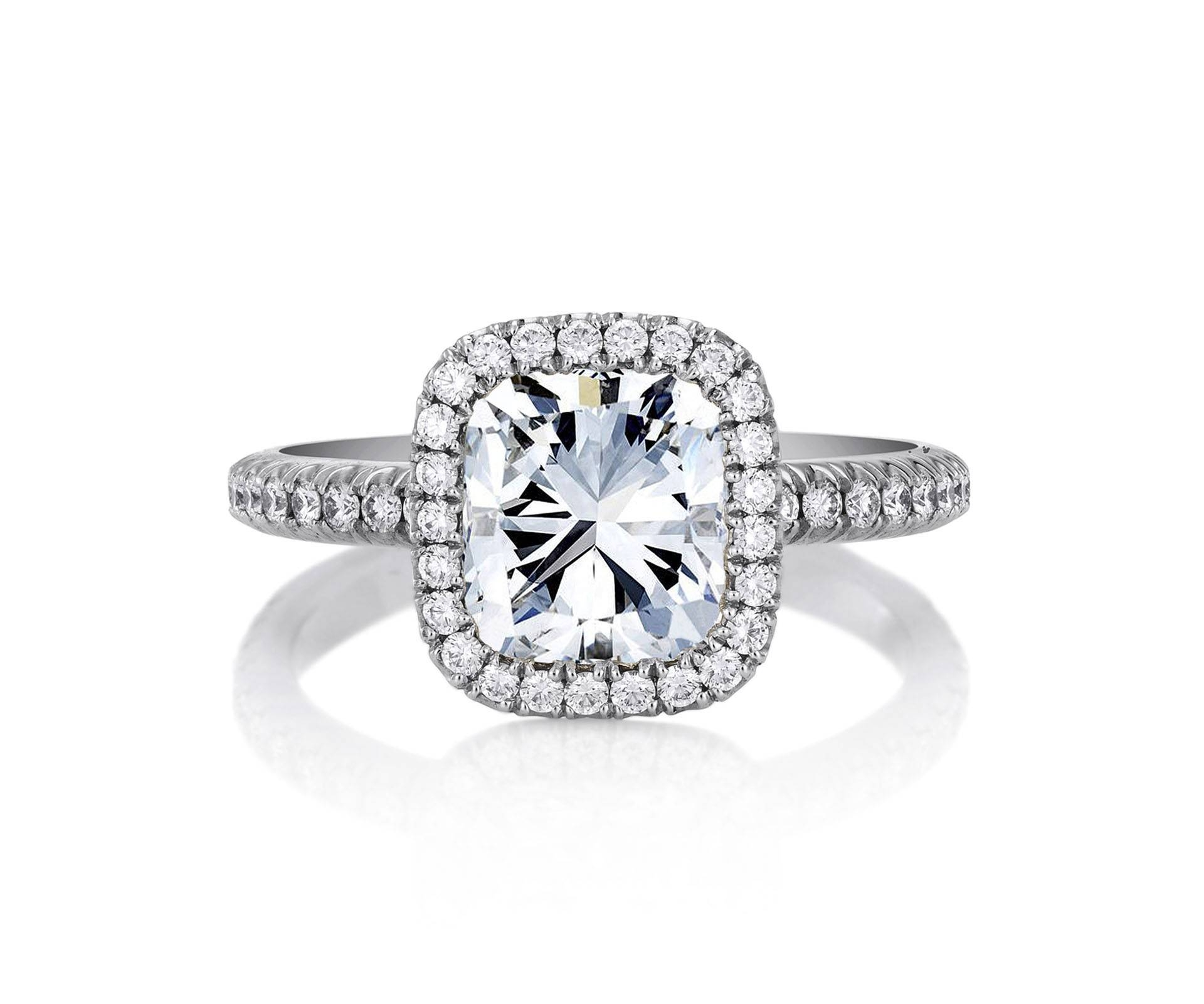 De Beers Aura Cushion Cut Solitaire Ring J1Dd13F20P | De Beers Within Diamonds Engagement Rings (View 7 of 15)