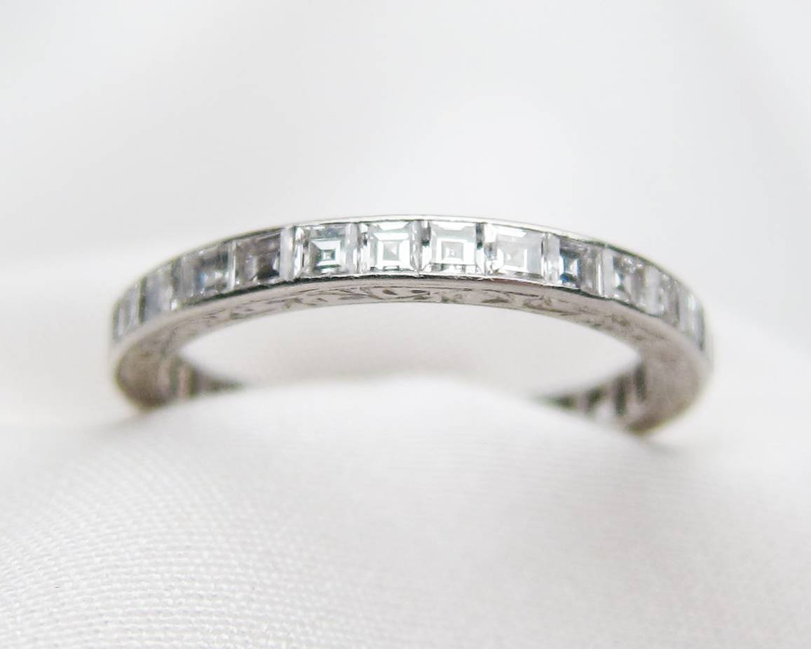 Deco Diamond Eternity Band | Platinum Diamond Eternity Band Inside 2018 Platinum Eternity Wedding Bands (View 3 of 15)