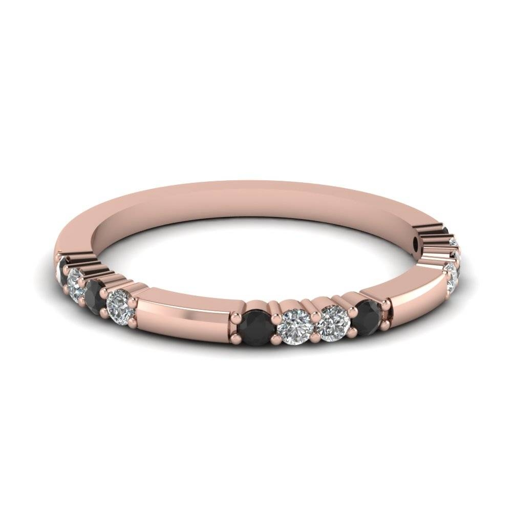 Delicate Black Diamond Wedding Band In 14K Rose Gold | Fascinating In 2018 Stackable Wedding Bands For Women (Gallery 7 of 15)