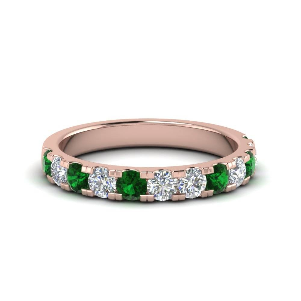 Delicate Diamond Wedding Ring One Carat With Emerald In 14k Rose In Delicate Diamond Wedding Bands (View 7 of 15)