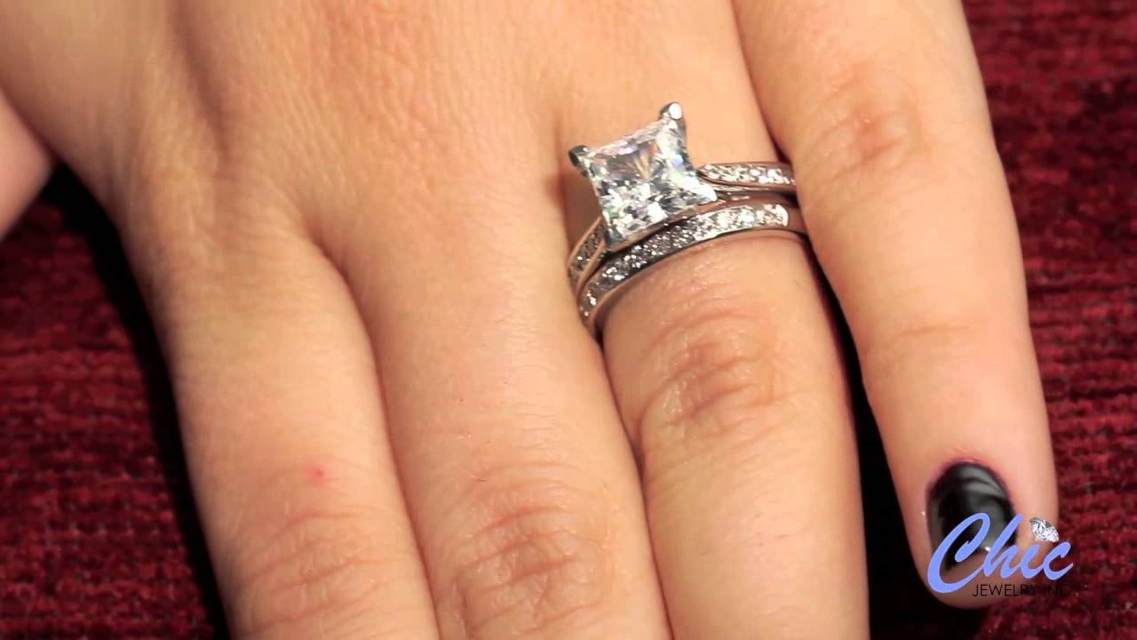 Delicate Wedding Ring Set With 2 Carat Princess Cut Cubic Zirconia Throughout  (View 4 of 15)