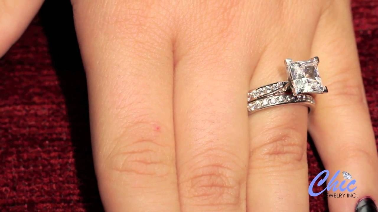 Delicate Wedding Ring Set With 2 Carat Princess Cut Cubic Zirconia With Regard To 2 Ct Wedding Rings (View 6 of 15)
