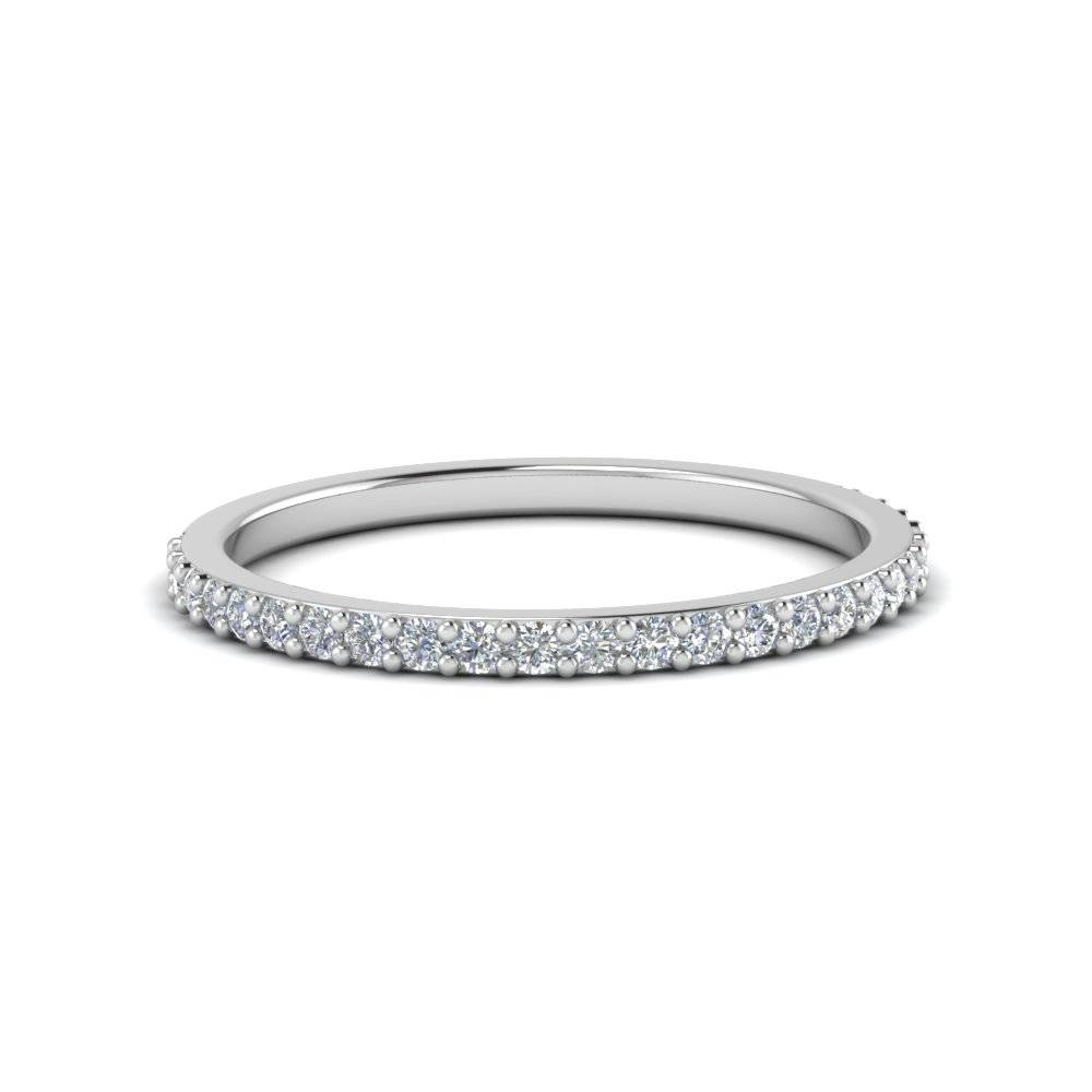 Delicate Womens Custom Wedding Diamond Band In 14K White Gold Inside Delicate Diamond Wedding Bands (Gallery 10 of 15)