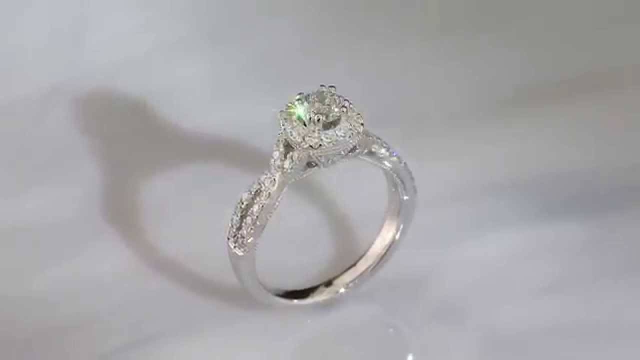 Demetrios Brilliant Twist Diamond Halo Engagement Ring – Youtube Within Rogers And Holland Engagement Rings (Gallery 4 of 15)