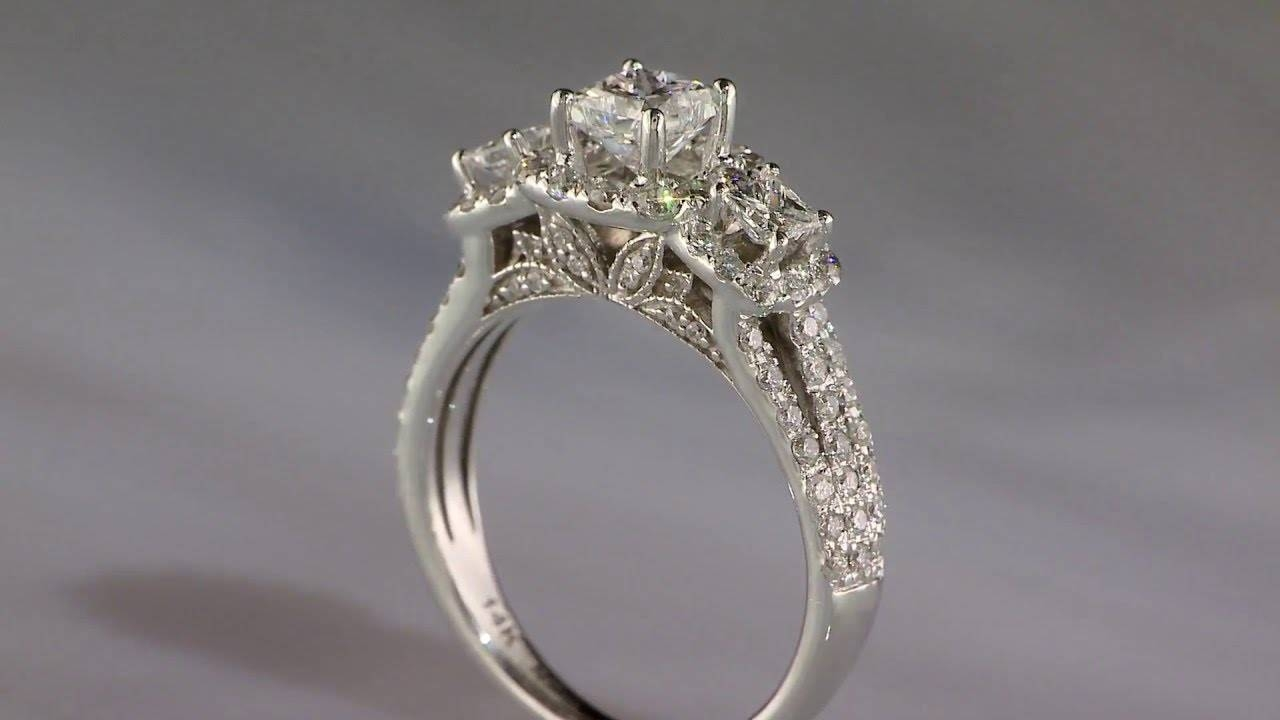 Demetrios Diamond Princess 3 Stone 14K White Gold Engagement Ring For Rogers And Holland Engagement Rings (View 4 of 15)