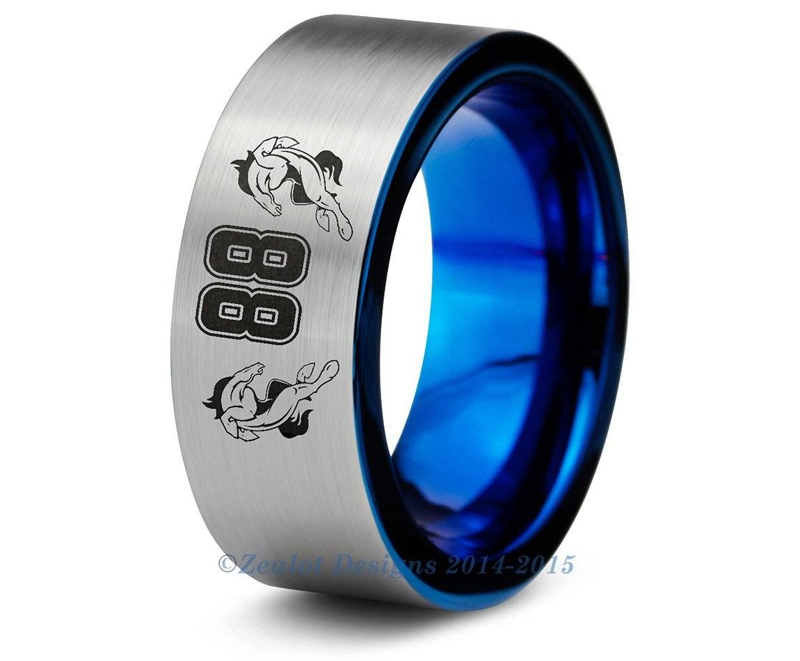Denver Broncos Blue Tungsten Wedding Band Ring Brushed Cut Nfl Intended For Denver Wedding Bands (View 1 of 15)