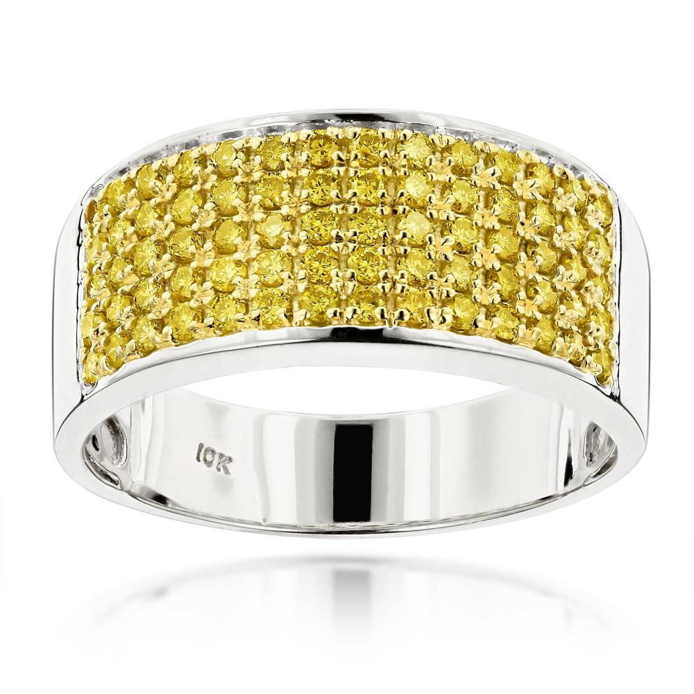 Designer 10K Gold Yellow Diamond Wedding Band For Men  (View 7 of 15)
