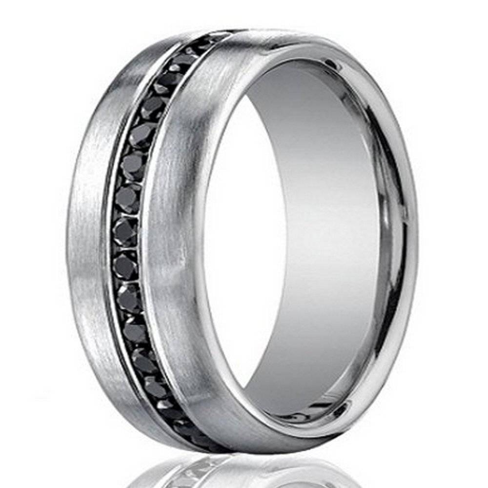 Designer 14K White Gold Men's Eternity Band, Black Diamond, 7.5Mm In Black Male Wedding Bands (Gallery 6 of 15)