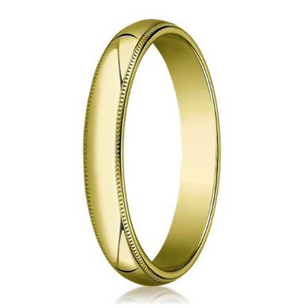 Designer Men's Wedding Band In 14K Yellow Gold With Beading | 4Mm Intended For 2018 4Mm Comfort Fit Wedding Bands (Gallery 11 of 15)