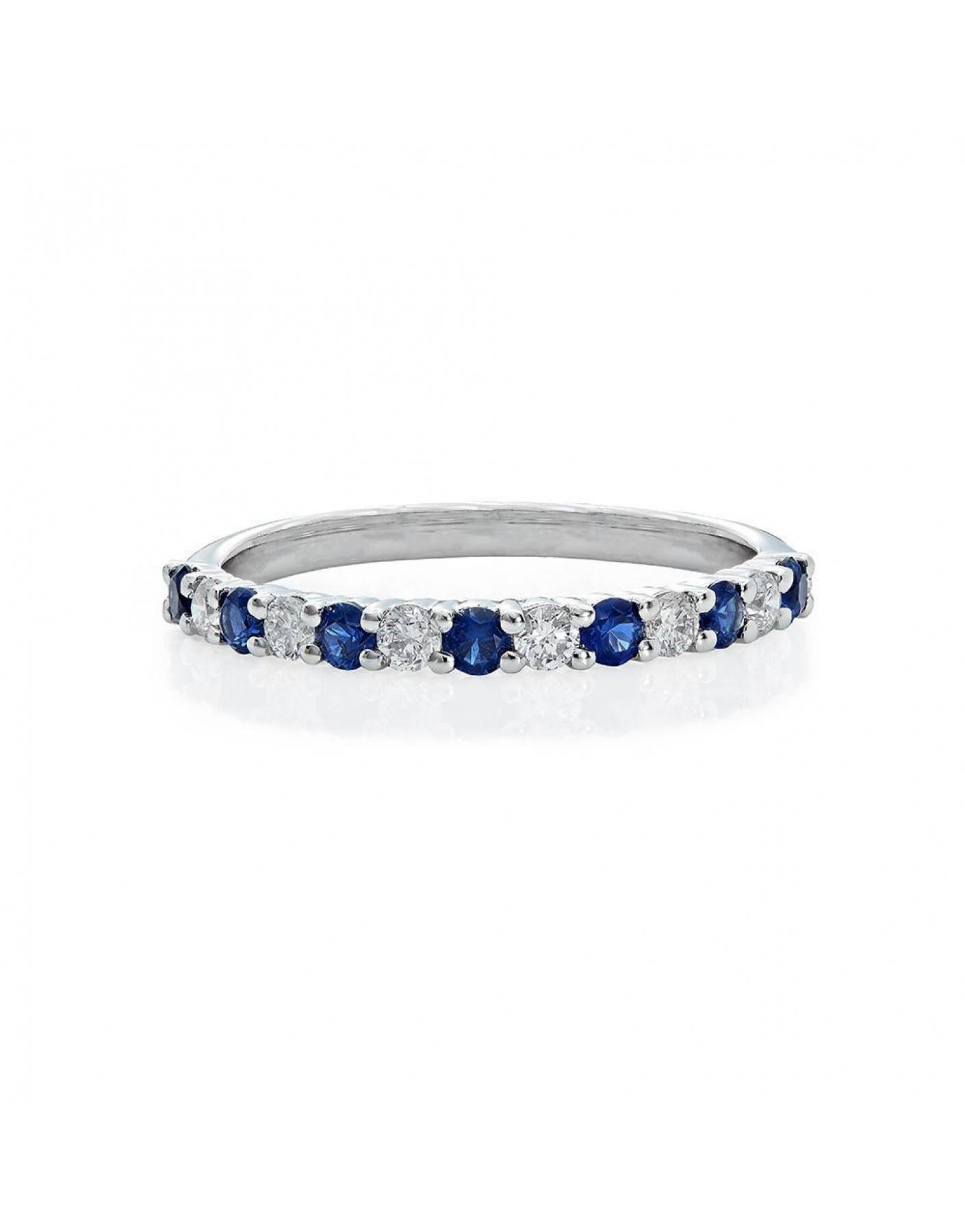 Diamond And Sapphire Wedding Band In 14k White Gold (1/2 Ct (View 10 of 15)