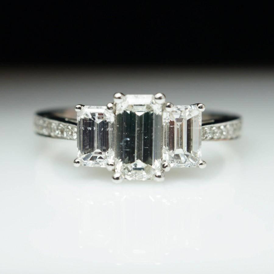 Diamond Engagement Ring 3 Stone Emerald Cut Wedding Ring 14K White Pertaining To 3 Stone Emerald Cut Diamond Engagement Rings (View 6 of 15)