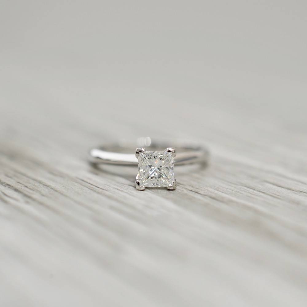 Diamond In A V Corner Knife Edge Flush Set Engagement Ring In White With Flush Setting Engagement Rings (View 3 of 15)