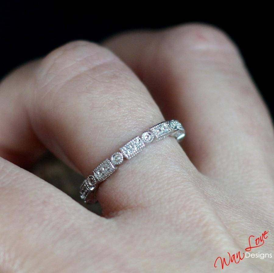 Diamond Milgrain Filigree Art Deco Style Eternity Stack Wedding For Latest Custom Platinum Wedding Bands (View 7 of 15)