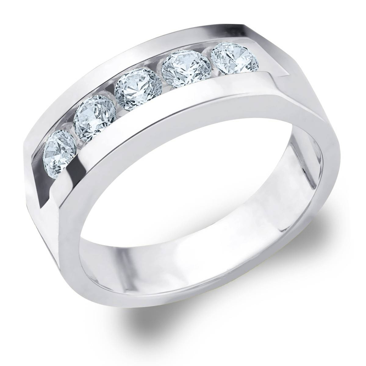 Diamond Rings Channel Set Stones | Wedding, Promise, Diamond Within Current Mens 5 Diamond Wedding Bands (View 2 of 15)
