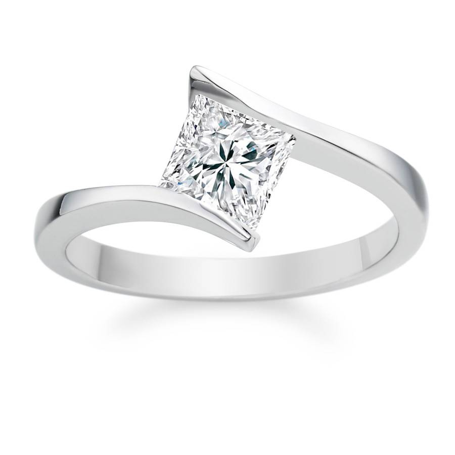 Diamond Shaped Engagement Rings Tags : Princess Cut Diamond With Simple Princess Cut Diamond Engagement Rings (View 7 of 15)
