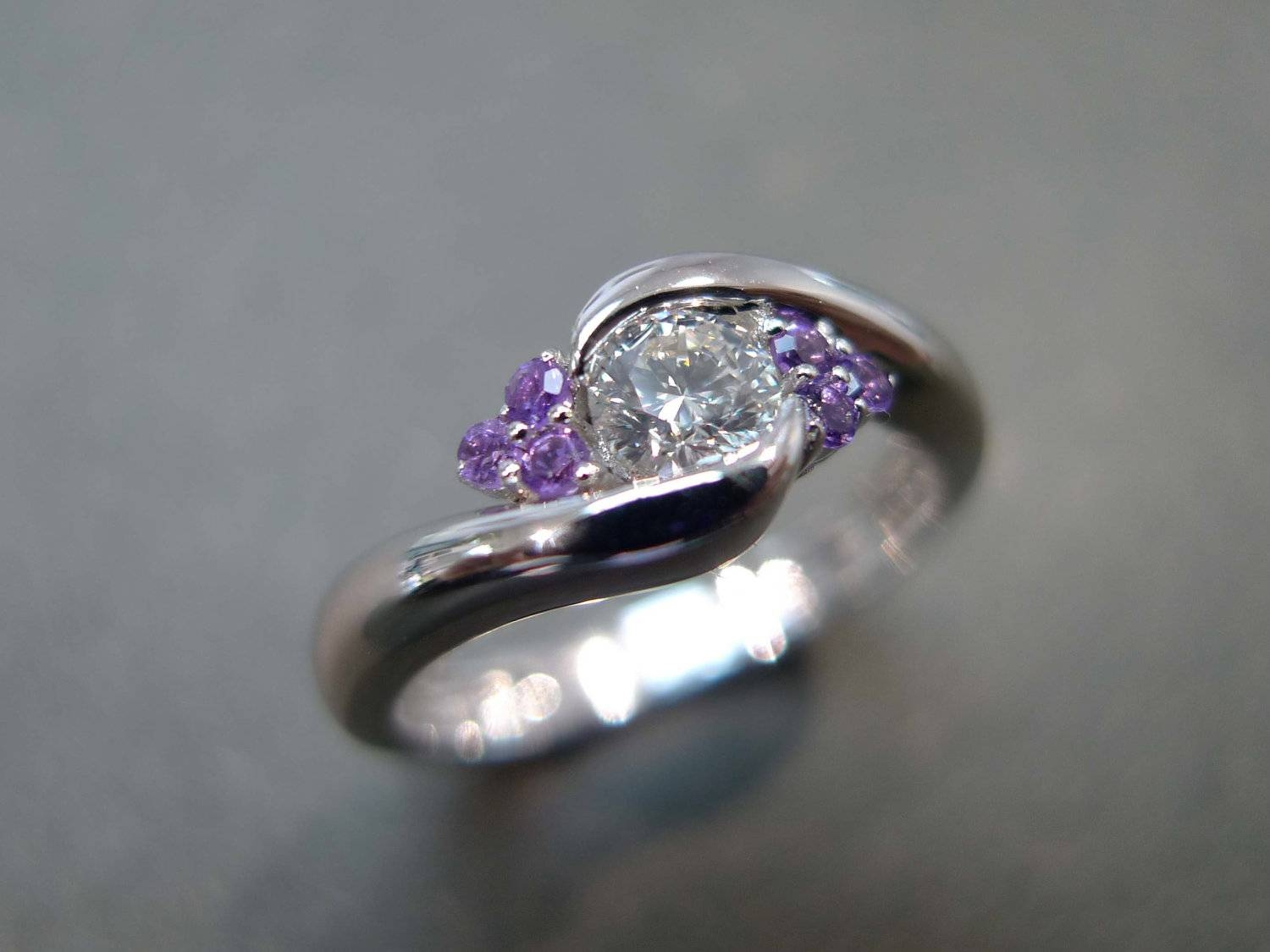 Diamonds Wedding Ring With Amethyst Amethyst Ring Amethyst Pertaining To Wedding Rings With Amethyst (Gallery 1 of 15)