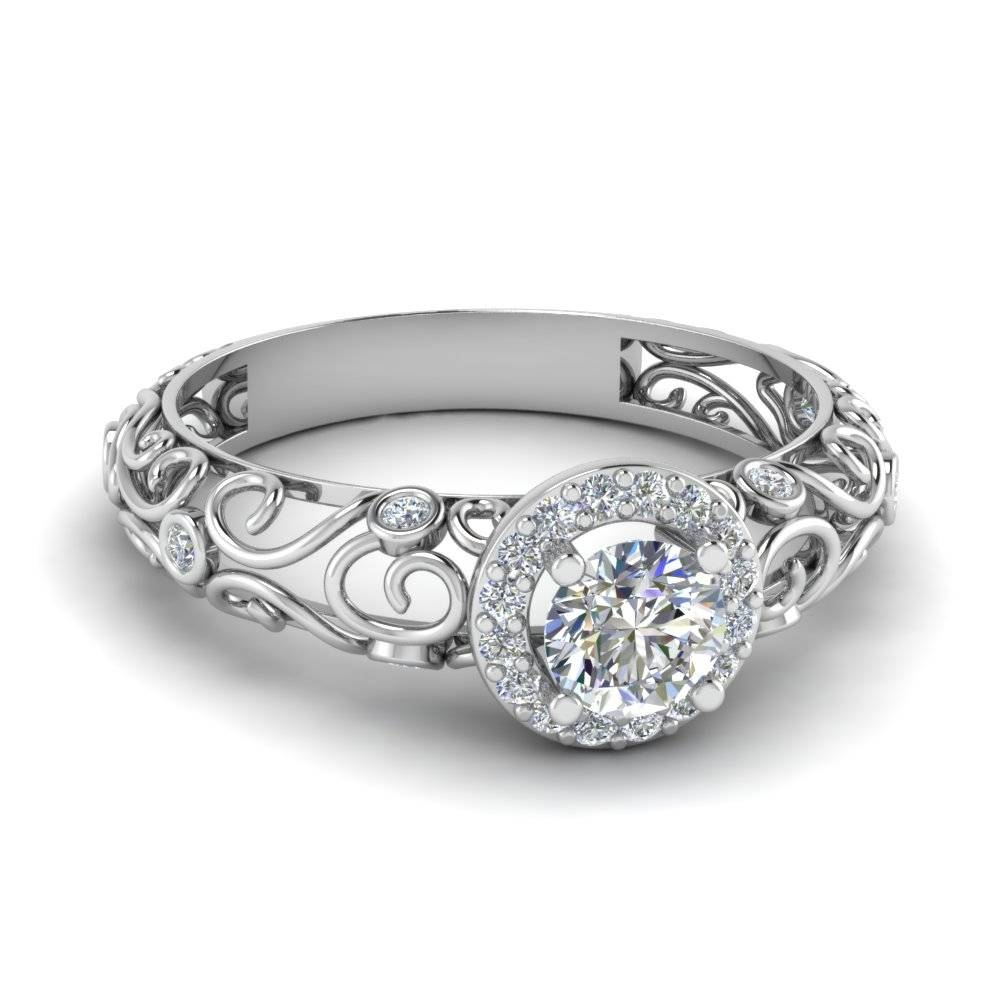 Dome Filigree Halo Vintage Round Diamond Engagement Ring In 950 With Halo Style Diamond Engagement Rings (View 5 of 15)